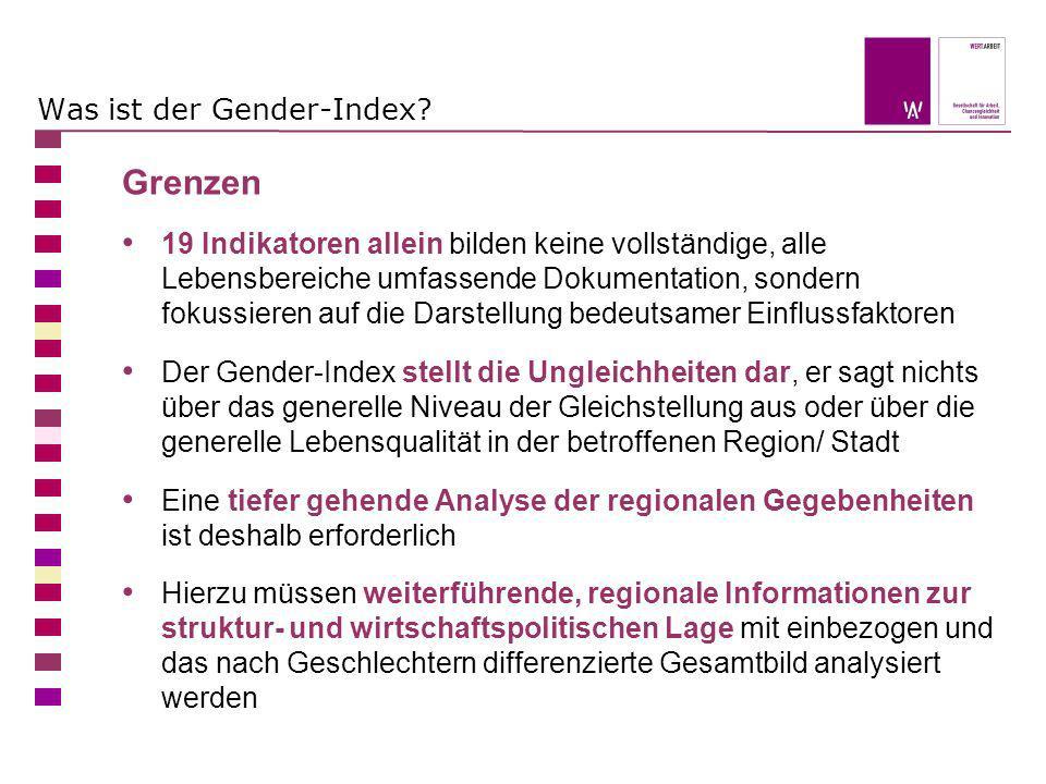 Was ist der Gender-Index? Grenzen 19 Indikatoren allein bilden keine vollständige, alle Lebensbereiche umfassende Dokumentation, sondern fokussieren a
