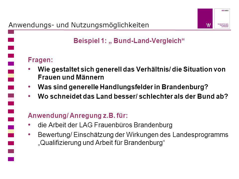 Anwendungs- und Nutzungsmöglichkeiten Beispiel 1: Bund-Land-Vergleich Fragen: Wie gestaltet sich generell das Verhältnis/ die Situation von Frauen und