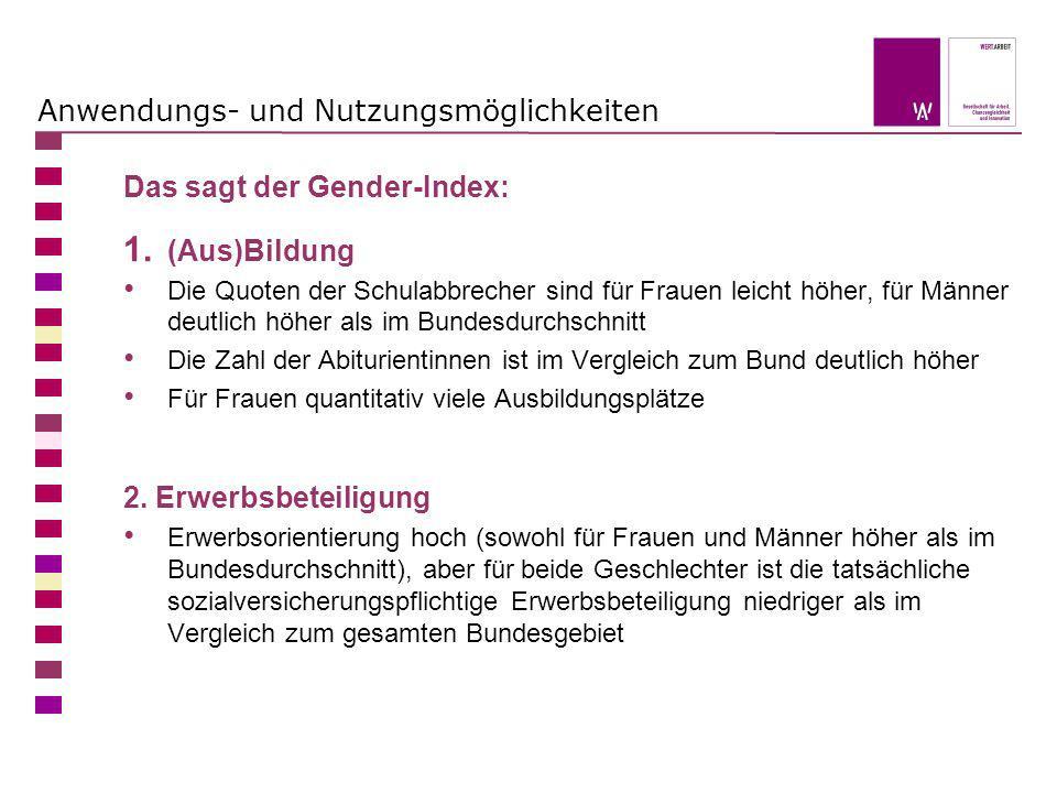 Anwendungs- und Nutzungsmöglichkeiten Das sagt der Gender-Index: 1. (Aus)Bildung Die Quoten der Schulabbrecher sind für Frauen leicht höher, für Männe