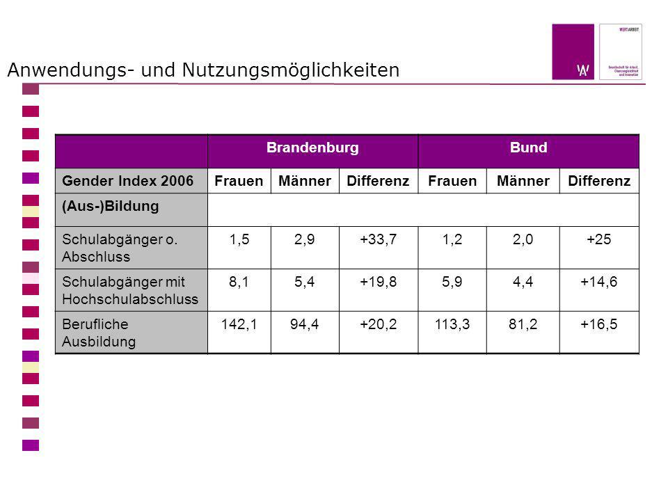 Anwendungs- und Nutzungsmöglichkeiten BrandenburgBund Gender Index 2006FrauenMännerDifferenzFrauenMännerDifferenz (Aus-)Bildung Schulabgänger o. Absch