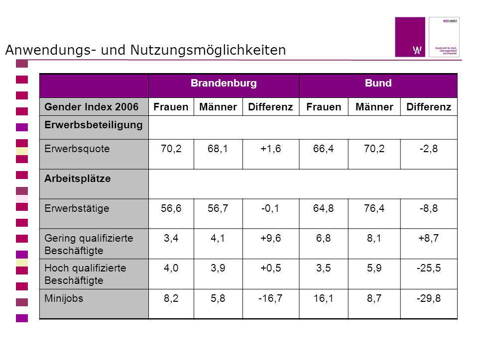 Anwendungs- und Nutzungsmöglichkeiten BrandenburgBund Gender Index 2006FrauenMännerDifferenzFrauenMännerDifferenz Erwerbsbeteiligung Erwerbsquote70,26