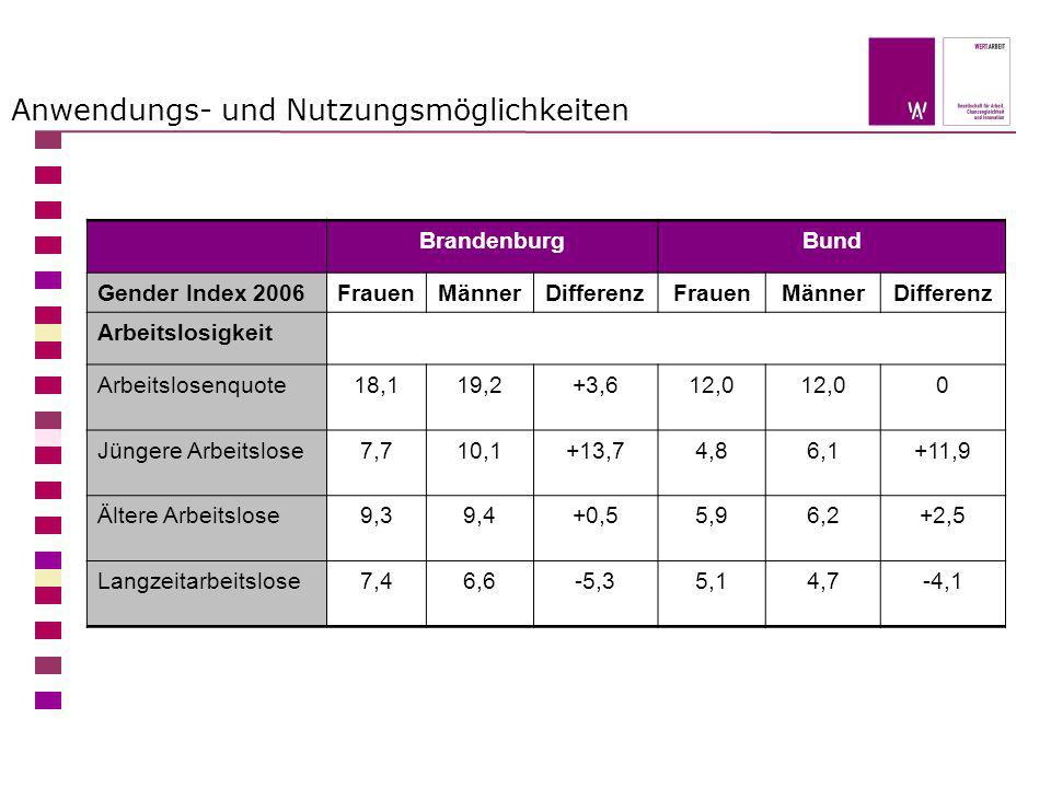 Anwendungs- und Nutzungsmöglichkeiten BrandenburgBund Gender Index 2006FrauenMännerDifferenzFrauenMännerDifferenz Arbeitslosigkeit Arbeitslosenquote18