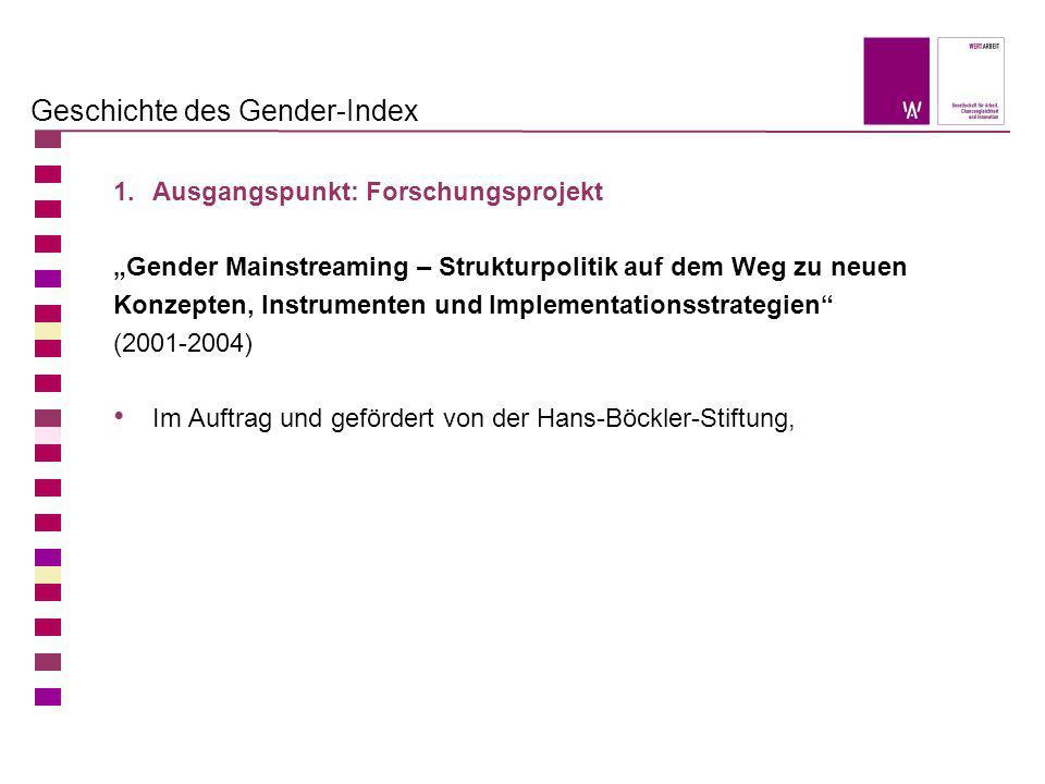 Geschichte des Gender-Index 1.Ausgangspunkt: Forschungsprojekt Gender Mainstreaming – Strukturpolitik auf dem Weg zu neuen Konzepten, Instrumenten und
