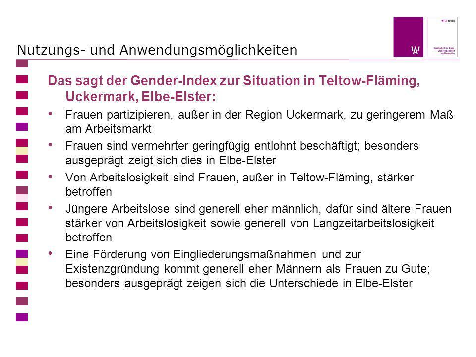 Nutzungs- und Anwendungsmöglichkeiten Das sagt der Gender-Index zur Situation in Teltow-Fläming, Uckermark, Elbe-Elster: Frauen partizipieren, außer i