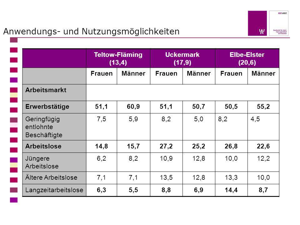 Anwendungs- und Nutzungsmöglichkeiten Teltow-Fläming (13,4) Uckermark (17,9) Elbe-Elster (20,6) FrauenMännerFrauenMännerFrauenMänner Arbeitsmarkt Erwe