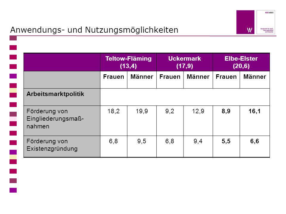 Anwendungs- und Nutzungsmöglichkeiten Teltow-Fläming (13,4) Uckermark (17,9) Elbe-Elster (20,6) FrauenMännerFrauenMännerFrauenMänner Arbeitsmarktpolit