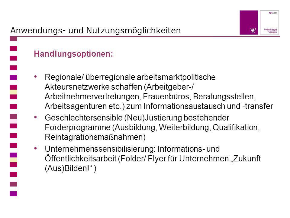 Anwendungs- und Nutzungsmöglichkeiten Handlungsoptionen: Regionale/ überregionale arbeitsmarktpolitische Akteursnetzwerke schaffen (Arbeitgeber-/ Arbe