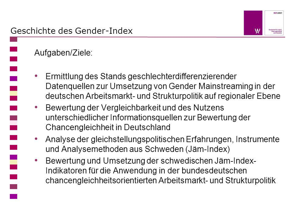 Die Indikatoren Der Gender-Index konzentriert sich auf die Bereiche (Aus-) Bildung, Berufsleben und Partizipation Der Bereich Erwerbsleben/ Beruf ist zentral für die Gleichstellung von Frauen und Männern, denn die Lebensführung, die (finanziellen) Möglichkeiten, die Mobilität usw.