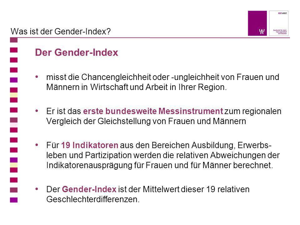 Der Gender-Index misst die Chancengleichheit oder -ungleichheit von Frauen und Männern in Wirtschaft und Arbeit in Ihrer Region. Er ist das erste bund