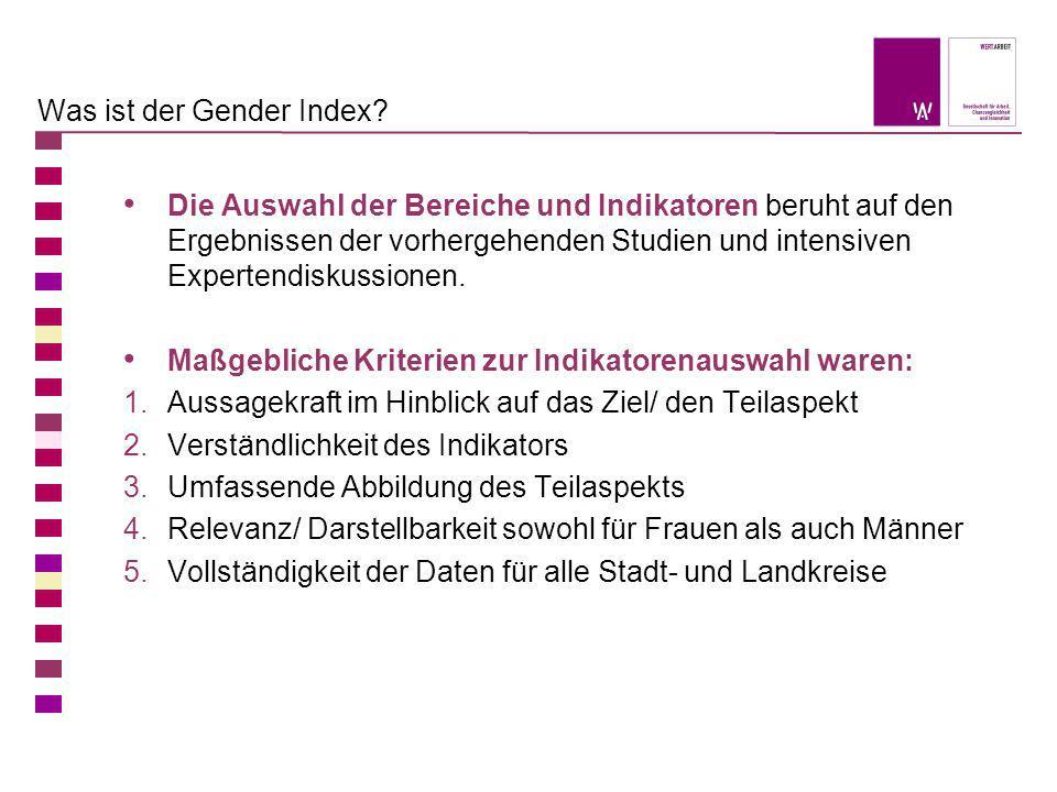 Was ist der Gender Index? Die Auswahl der Bereiche und Indikatoren beruht auf den Ergebnissen der vorhergehenden Studien und intensiven Expertendiskus