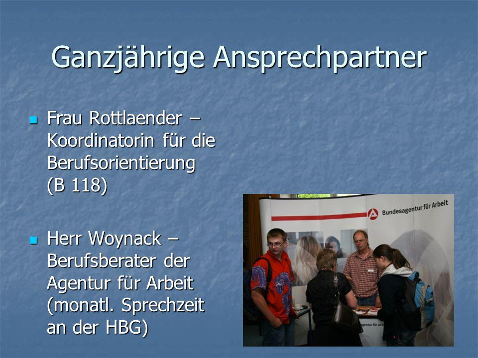 Ganzjährige Ansprechpartner Frau Rottlaender – Koordinatorin für die Berufsorientierung (B 118) Frau Rottlaender – Koordinatorin für die Berufsorienti