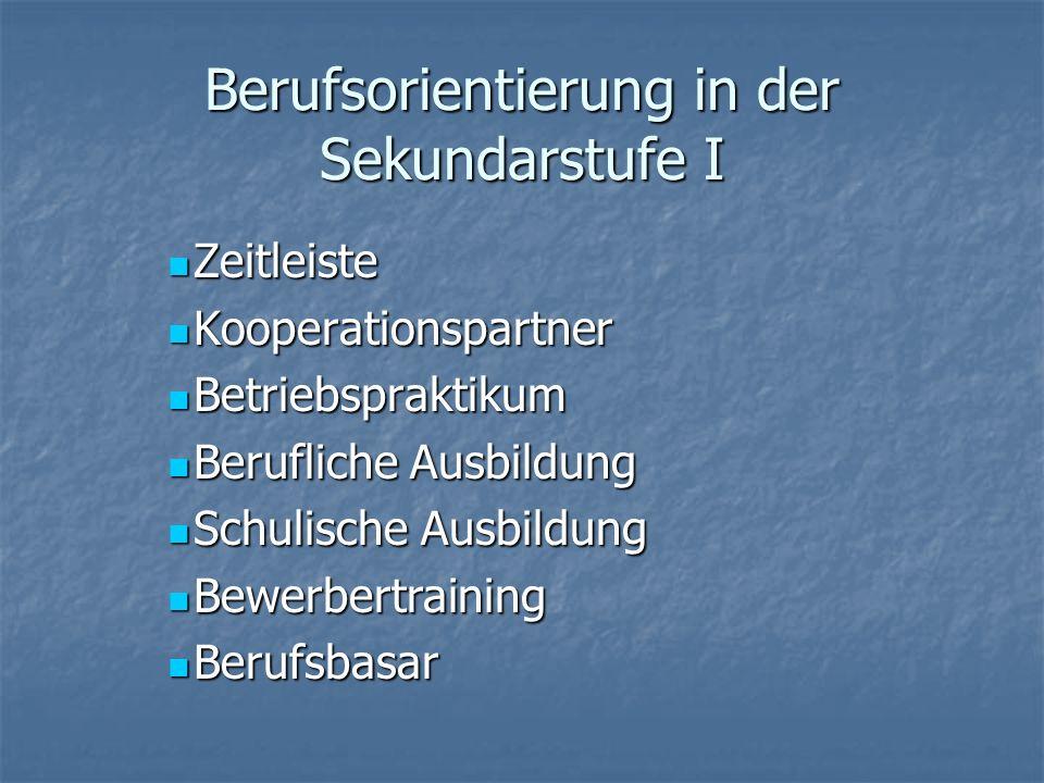 Berufsorientierung in der Sekundarstufe I Zeitleiste Zeitleiste Kooperationspartner Kooperationspartner Betriebspraktikum Betriebspraktikum Berufliche