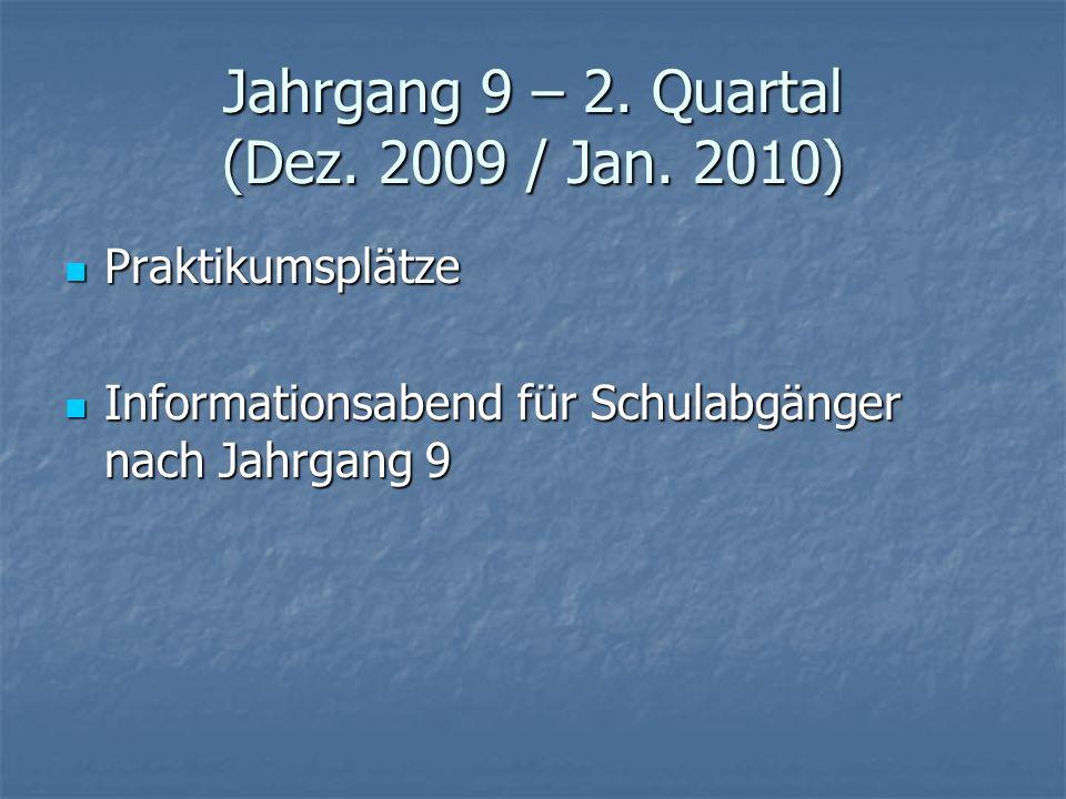 Jahrgang 9 – 2. Quartal (Dez. 2009 / Jan. 2010) Praktikumsplätze Praktikumsplätze Informationsabend für Schulabgänger nach Jahrgang 9 Informationsaben