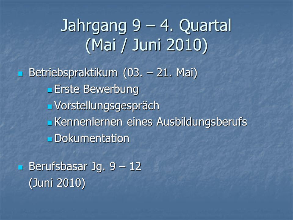 Jahrgang 9 – 4. Quartal (Mai / Juni 2010) Betriebspraktikum (03. – 21. Mai) Betriebspraktikum (03. – 21. Mai) Erste Bewerbung Erste Bewerbung Vorstell