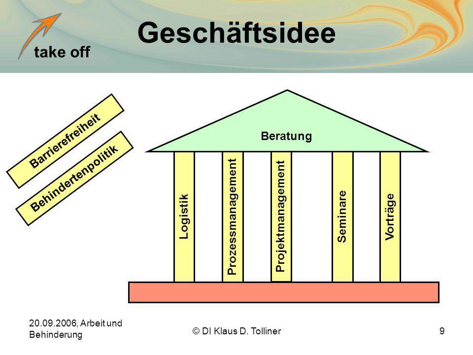 take off 20.09.2006, Arbeit und Behinderung © DI Klaus D. Tolliner9 Geschäftsidee Beratung Barrierefreiheit LogistikProzessmanagement Projektmanagemen