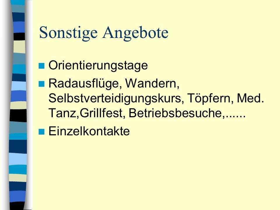 Sonstige Angebote Orientierungstage Radausflüge, Wandern, Selbstverteidigungskurs, Töpfern, Med.