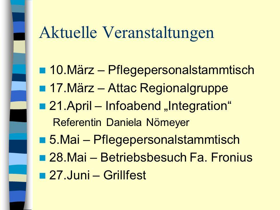 Aktuelle Veranstaltungen 10.März – Pflegepersonalstammtisch 17.März – Attac Regionalgruppe 21.April – Infoabend Integration Referentin Daniela Nömeyer 5.Mai – Pflegepersonalstammtisch 28.Mai – Betriebsbesuch Fa.