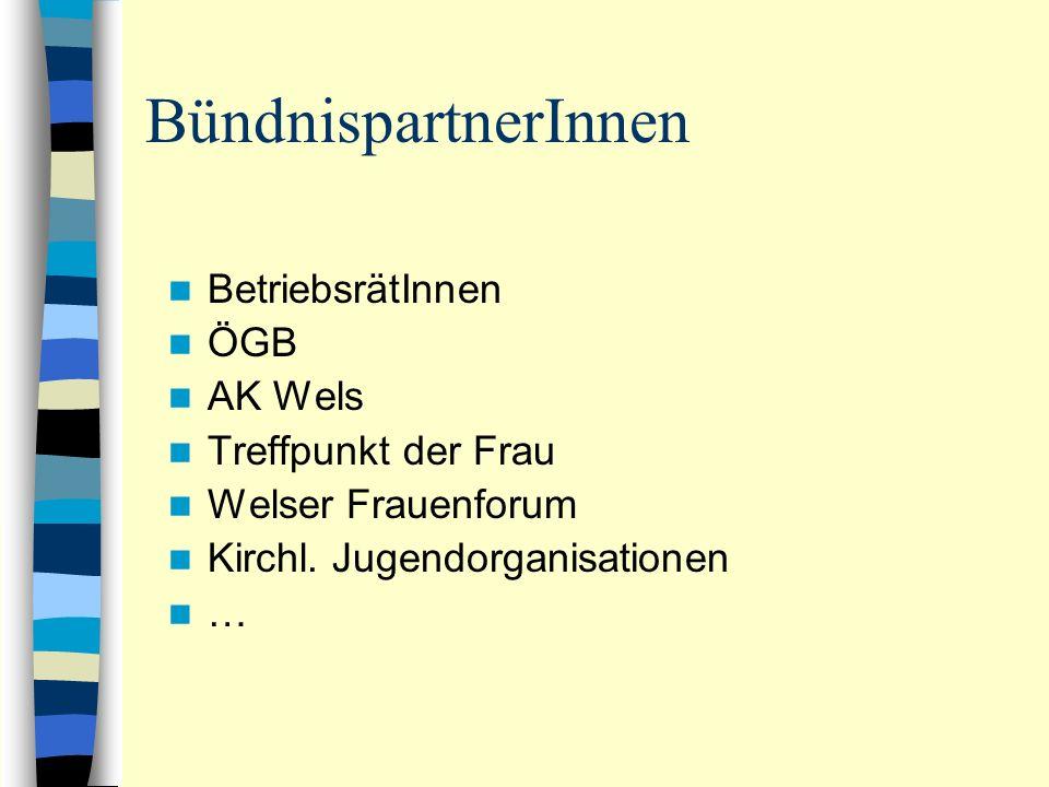 BündnispartnerInnen BetriebsrätInnen ÖGB AK Wels Treffpunkt der Frau Welser Frauenforum Kirchl. Jugendorganisationen …
