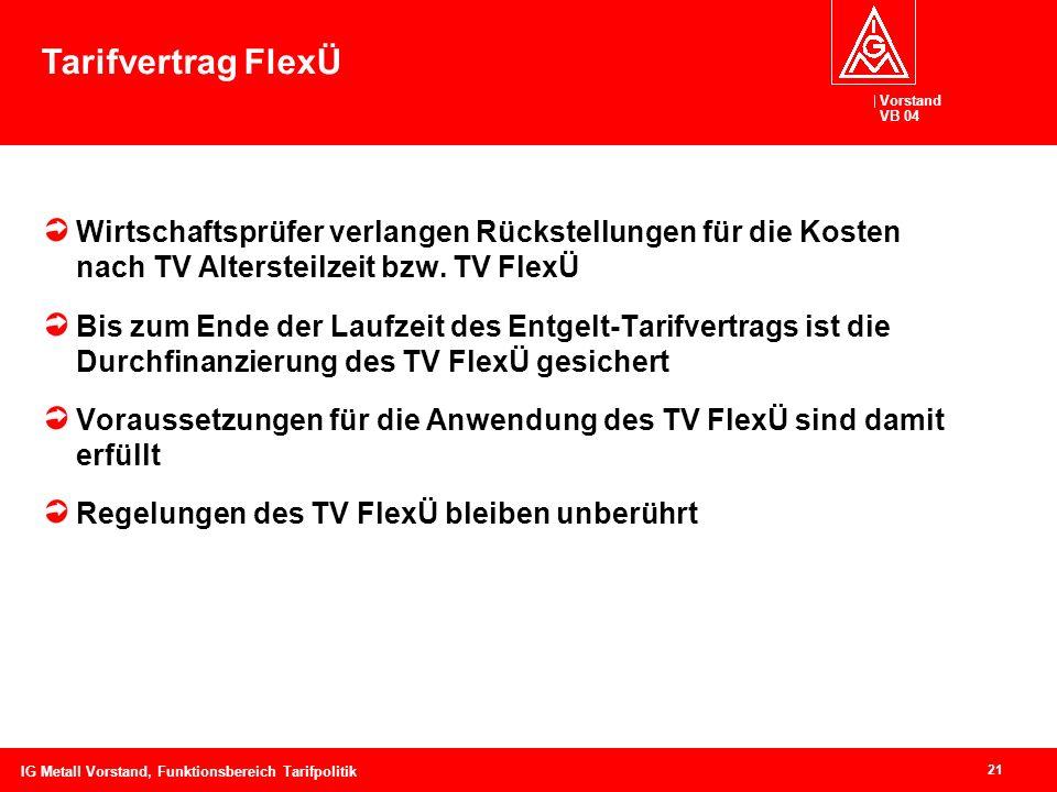 Vorstand VB 04 21 IG Metall Vorstand, Funktionsbereich Tarifpolitik Wirtschaftsprüfer verlangen Rückstellungen für die Kosten nach TV Altersteilzeit b