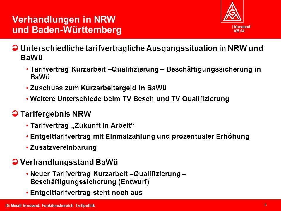 Vorstand VB 04 5 IG Metall Vorstand, Funktionsbereich Tarifpolitik Verhandlungen in NRW und Baden-Württemberg Unterschiedliche tarifvertragliche Ausga
