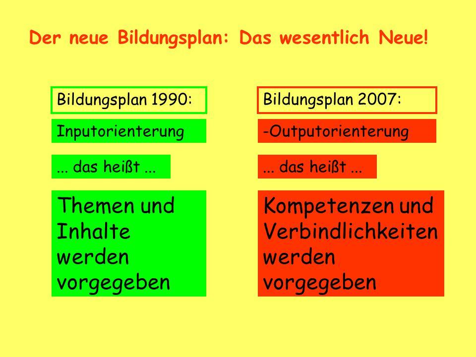 Der neue Bildungsplan: Das wesentlich Neue! Inputorienterung Bildungsplan 1990: Themen und Inhalte werden vorgegeben Kompetenzen und Verbindlichkeiten