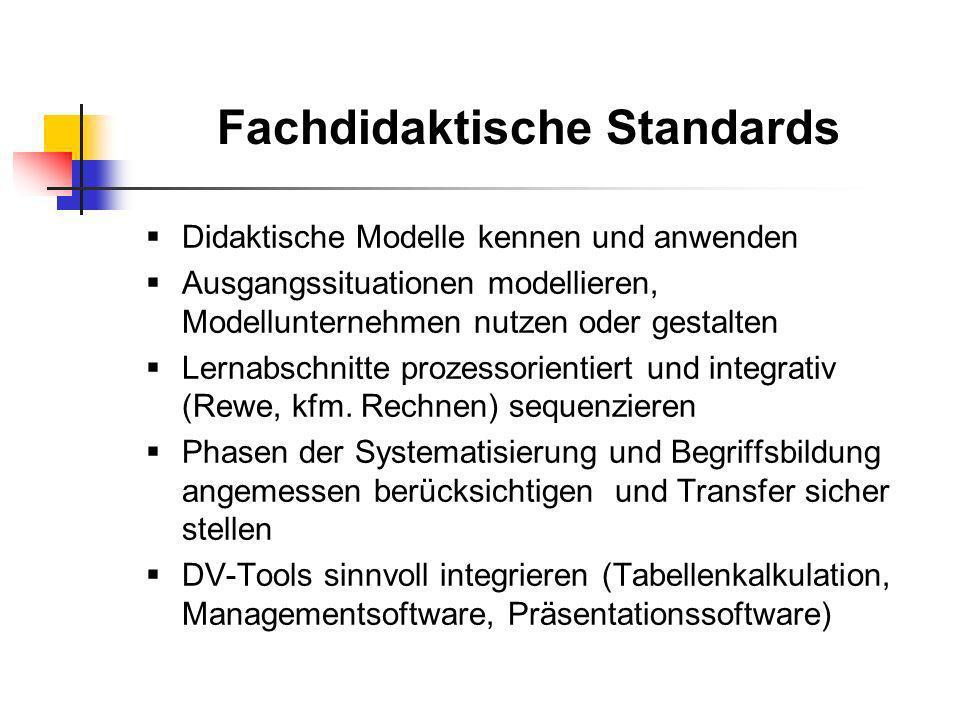 Fachdidaktische Standards Didaktische Modelle kennen und anwenden Ausgangssituationen modellieren, Modellunternehmen nutzen oder gestalten Lernabschni