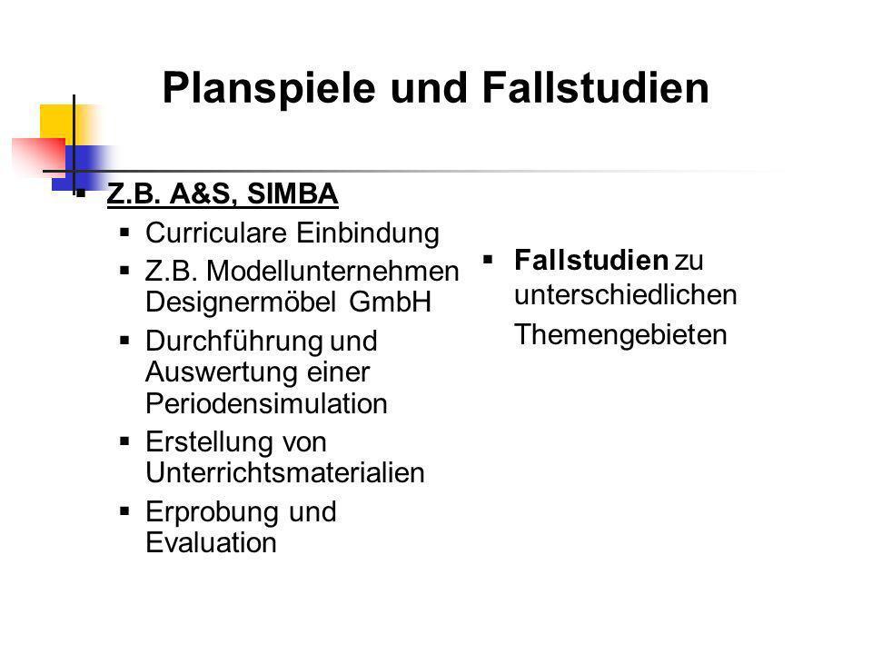 Planspiele und Fallstudien Z.B. A&S, SIMBA Curriculare Einbindung Z.B. Modellunternehmen Designermöbel GmbH Durchführung und Auswertung einer Perioden