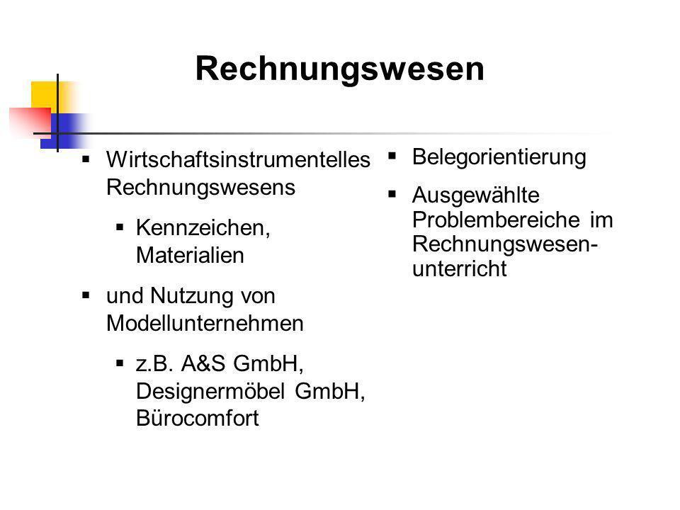 Rechnungswesen Wirtschaftsinstrumentelles Rechnungswesens Kennzeichen, Materialien und Nutzung von Modellunternehmen z.B. A&S GmbH, Designermöbel GmbH