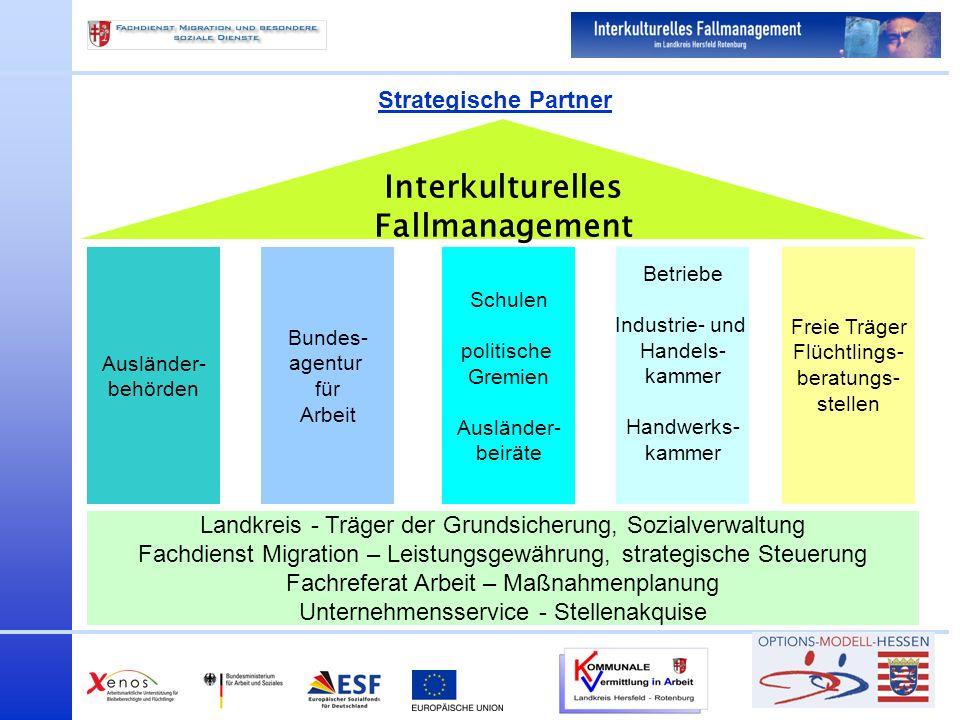 Strategische Partner Interkulturelles Fallmanagement Ausländer- behörden Bundes- agentur für Arbeit Schulen politische Gremien Ausländer- beiräte Frei