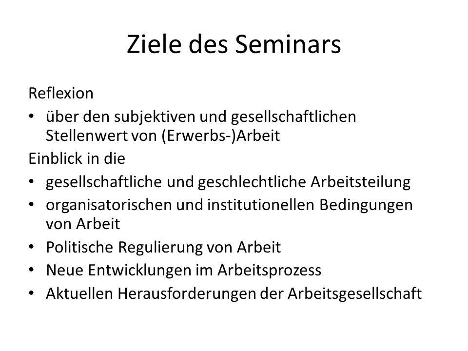 Ziele des Seminars Reflexion über den subjektiven und gesellschaftlichen Stellenwert von (Erwerbs-)Arbeit Einblick in die gesellschaftliche und geschl