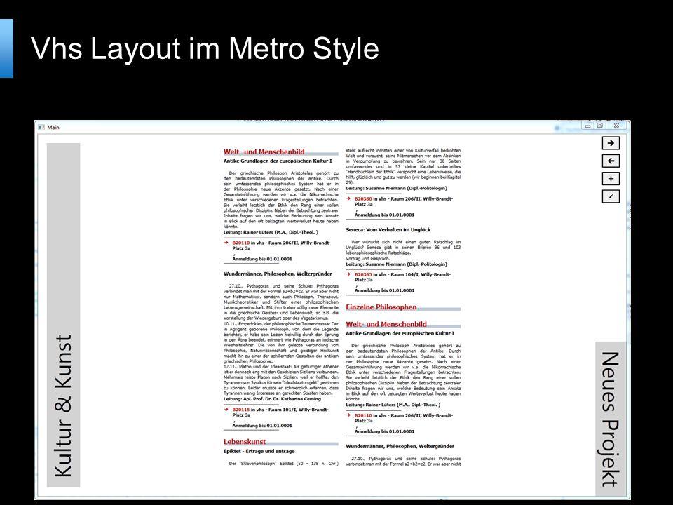 Vhs Layout im Metro Style