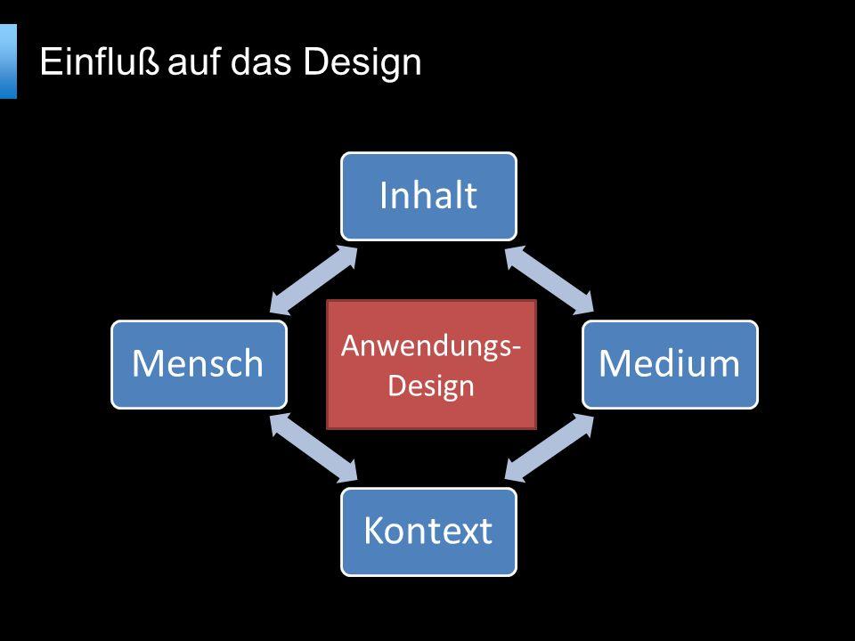 InhaltMediumKontextMensch Einfluß auf das Design Anwendungs- Design