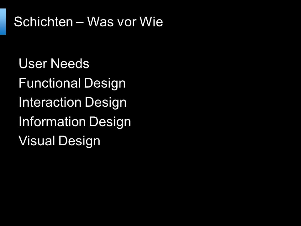 Schichten – Was vor Wie User Needs Functional Design Interaction Design Information Design Visual Design