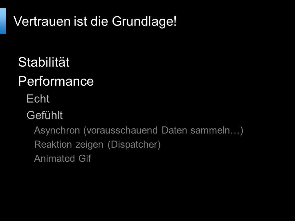 Stabilität Performance Echt Gefühlt Asynchron (vorausschauend Daten sammeln…) Reaktion zeigen (Dispatcher) Animated Gif Vertrauen ist die Grundlage!