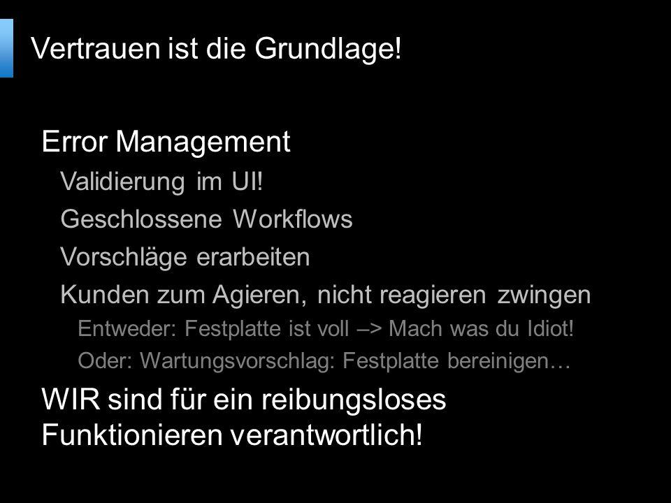 Error Management Validierung im UI.