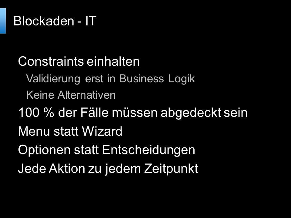Constraints einhalten Validierung erst in Business Logik Keine Alternativen 100 % der Fälle müssen abgedeckt sein Menu statt Wizard Optionen statt Entscheidungen Jede Aktion zu jedem Zeitpunkt Blockaden - IT