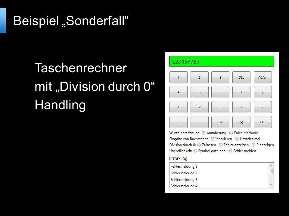 Taschenrechner mit Division durch 0 Handling Beispiel Sonderfall