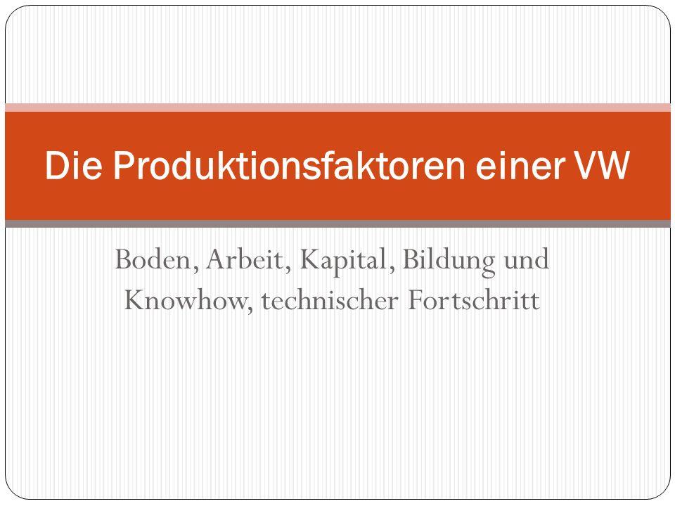 Boden, Arbeit, Kapital, Bildung und Knowhow, technischer Fortschritt Die Produktionsfaktoren einer VW