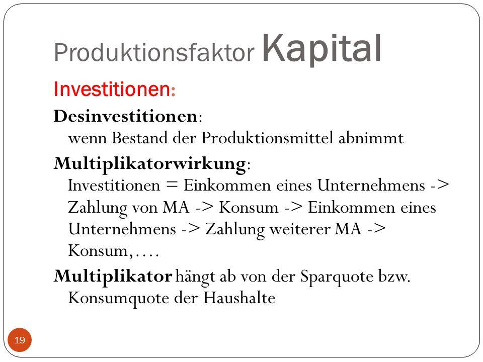 Produktionsfaktor Kapital Investitionen : Desinvestitionen: wenn Bestand der Produktionsmittel abnimmt Multiplikatorwirkung: Investitionen = Einkommen eines Unternehmens -> Zahlung von MA -> Konsum -> Einkommen eines Unternehmens -> Zahlung weiterer MA -> Konsum,….