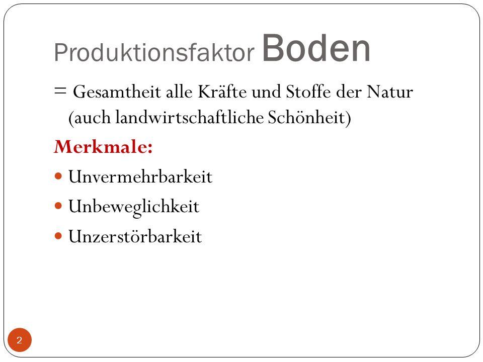 Produktionsfaktor Boden = Gesamtheit alle Kräfte und Stoffe der Natur (auch landwirtschaftliche Schönheit) Merkmale: Unvermehrbarkeit Unbeweglichkeit Unzerstörbarkeit 2