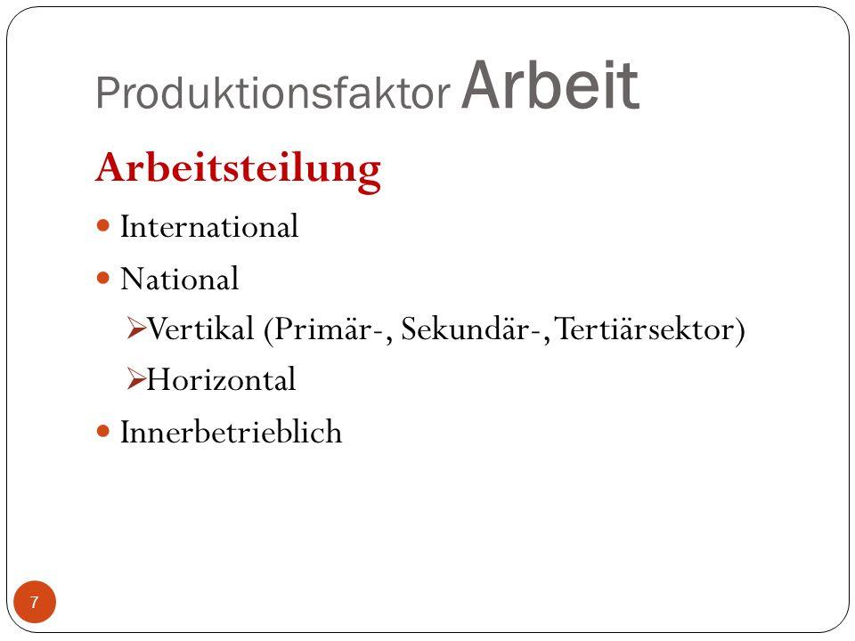 Produktionsfaktor Arbeit Arbeitsteilung International National Vertikal (Primär-, Sekundär-, Tertiärsektor) Horizontal Innerbetrieblich 7