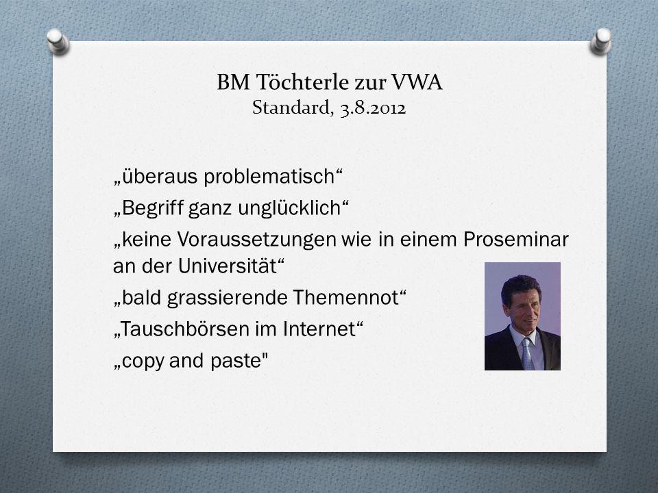 BM Töchterle zur VWA Standard, 3.8.2012 überaus problematisch Begriff ganz unglücklich keine Voraussetzungen wie in einem Proseminar an der Universitä