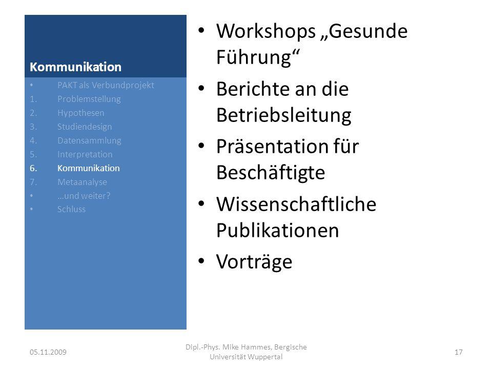 Kommunikation Beispiel für ein Ergebnis PAKT als Verbundprojekt 1.Problemstellung 2.Hypothesen 3.Studiendesign 4.Datensammlung 5.Interpretation 6.Kommunikation 7.Metaanalyse …und weiter.