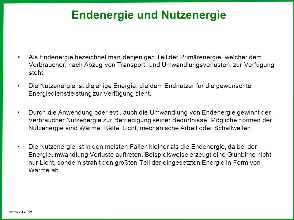www.cc-agri.de Als Endenergie bezeichnet man denjenigen Teil der Primärenergie, welcher dem Verbraucher, nach Abzug von Transport- und Umwandlungsverlusten, zur Verfügung steht.