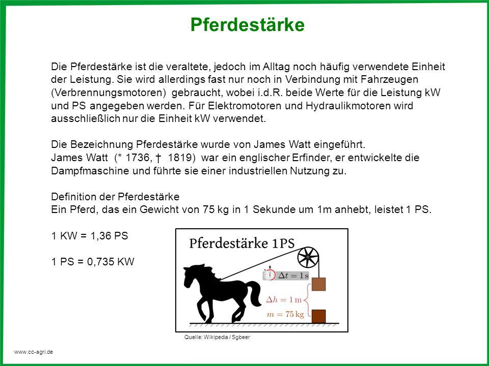 www.cc-agri.de Pferdestärke Die Pferdestärke ist die veraltete, jedoch im Alltag noch häufig verwendete Einheit der Leistung.