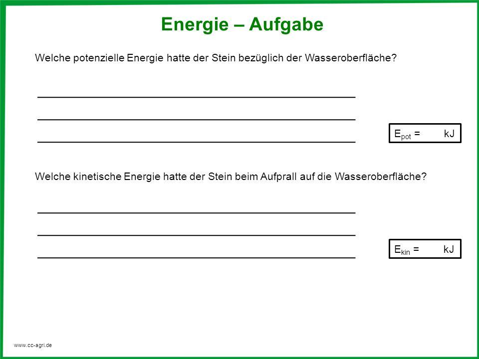 www.cc-agri.de Energie – Aufgabe Welche potenzielle Energie hatte der Stein bezüglich der Wasseroberfläche.