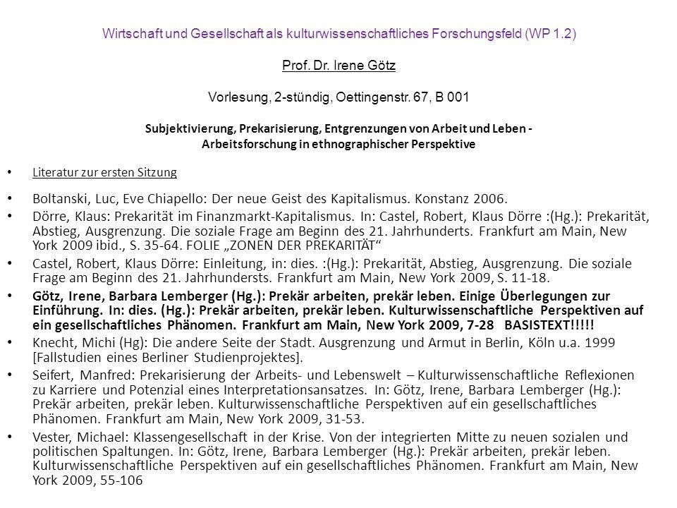 Literatur zur ersten Sitzung Boltanski, Luc, Eve Chiapello: Der neue Geist des Kapitalismus.