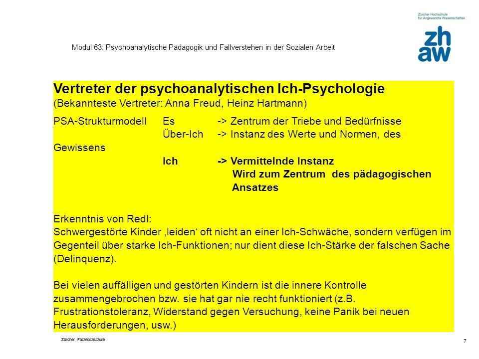 Zürcher Fachhochschule 7 Modul 63: Psychoanalytische Pädagogik und Fallverstehen in der Sozialen Arbeit Vertreter der psychoanalytischen Ich-Psycholog