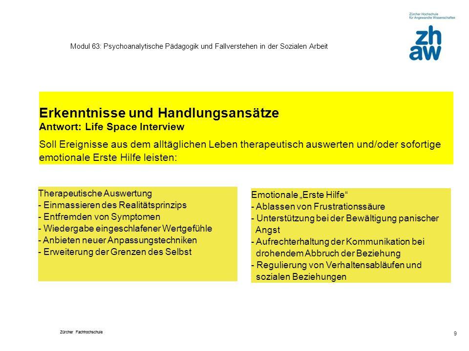 Zürcher Fachhochschule 9 Modul 63: Psychoanalytische Pädagogik und Fallverstehen in der Sozialen Arbeit Erkenntnisse und Handlungsansätze Antwort: Lif