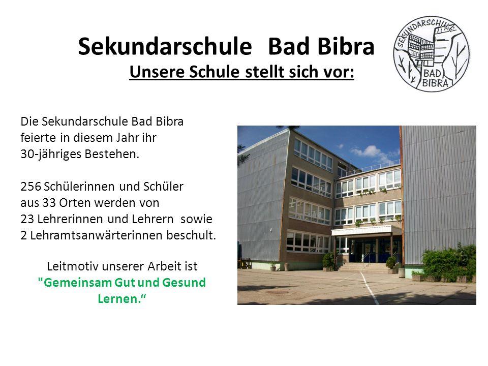 Unsere Schule stellt sich vor: Sekundarschule Bad Bibra Die Sekundarschule Bad Bibra feierte in diesem Jahr ihr 30-jähriges Bestehen. 256 Schülerinnen